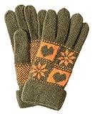 レディース アンゴラ混 ウール ニット 手袋 フード ケーブル 格子 雪柄 リボン 5指 指切り (5指 ハート 雪 ( グリーン ))