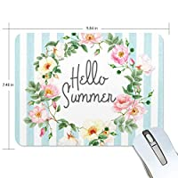 Hello Summer With Flowers こんにちは夏 やる気とインスピレーションフレーズのデザインと役員学生の快適な使用のためのソフト&厚いマウスパッド