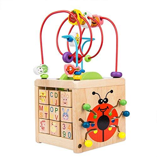 ビーズコースター ルーピング おもちゃ アクティビティキューブ BATTOP 子ども 知育玩具 木製 マルチプレイ...