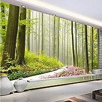 Xbwy 道路の周りの自然林3Dの壁の壁画の花カスタム写真の壁紙リビングルームの入り口の壁の背景家の装飾-150X120Cm
