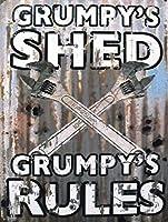 Spanners Grumpy Rules 金属板ブリキ看板警告サイン注意サイン表示パネル情報サイン金属安全サイン
