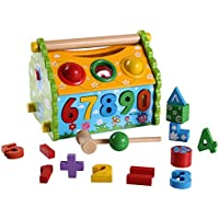UGRZRE 大きな木製形の家のおもちゃ 幼児と赤ちゃんの色認識とジオメトリーデジタル学習用