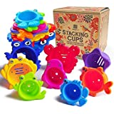 aGreatLife Stacking Cups Bath Toys for Toddlers: My First Under The Sea Animal Stacker with Holes for Sprinkling Water and Sifting Sand - Includes Fun and Brightly Colored Numbers and Fruits Stickers.