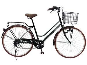 CHACLE(チャクル) 空気入れ不要! ノーパンク自転車 軽快車 26インチ [外装6段変速、ブラウンパーツ装備] ダークグリーン FN-CC266W-SP