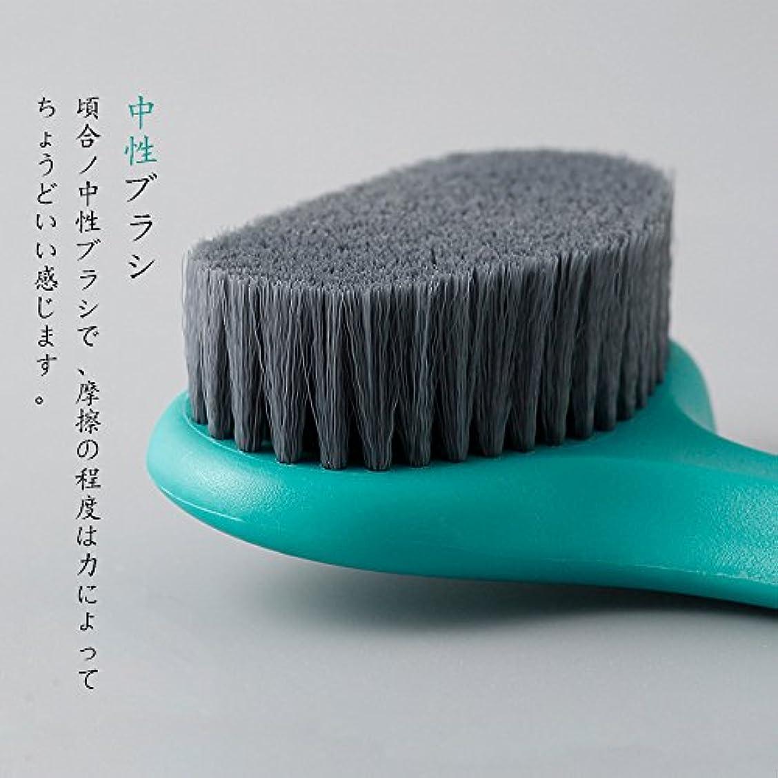 XVOOX あかすり ボディブラシ 体洗いブラシ 背中ニキビ お風呂用体洗い 角質除去/血行促進 バスグッズ ロング柄 (緑)