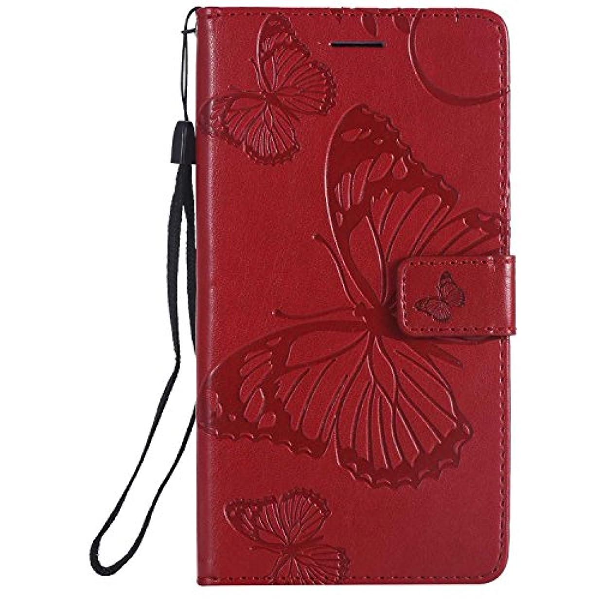 スペクトラム保有者無実CUSKING LG LS775 ケース LG LS775 カバー エルジー 手帳ケース カードポケット スタンド機能 蝶柄 スマホケース かわいい レザー 手帳 - レッド