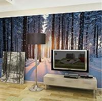 Lcymt 雪の木の森の風景自然写真の壁紙壁画家の装飾壁紙3Dリビングルームビニールシルク壁紙-350X250Cm