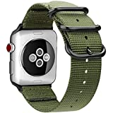 Fintie Band for Apple Watch 44mm 42mm, Lightweight Breathable Woven Nylon Sport Loop Wrist Strap with Metal Buckle Compatible with Apple Watch Series 4 Series 3 Series 2 Series 1, Olive