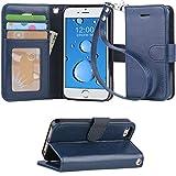「Arae」iPhone SE ケース / iPhone 5s ケース / iPhone 5 ケース 手帳型 カード入れ スタンド機能付き マグネット式 アイフォン SE / 5s / 5財布型カバー (iPhone SE 経典スタイル, ブルー)