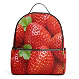 ユキオ(UKIO) バッグパック リュックサック レディース 人気 おしゃれ 可愛い苺 赤 レッド キャンバス 登山 旅行 通勤 通学 デイパック