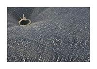 ネイビー クッション 直径45×12cm デニム調パッチワークデザインラグ Diart ディアート【ノーブランド品】