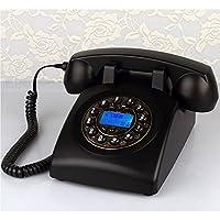 CHENGYI 古いスタイルのボタン電話フランスの機械的な着メロレトロホームオフィスの固定電話 ( 色 : ブラック )