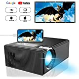 Projector, DIWUER Portable Video Projectors, Mini Movie Projector 1080P Full HD for Home Cinema Theater, Synchronizing Smartphone Screen Directly, Support HDMI, VGA, AV, USB, SD Card