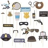 Amosfun 警察キャッチ泥棒ロールプレイパーティーフォトブースの小道具警察のテーマパーティーは21個を支持します