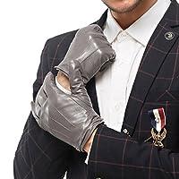 NAPPAGLO メンズ 男性用 本革 羊革 手袋 スマホ対応 手作り グローブ ロングフリース ライニング (M グレー(スマホ対応のない))