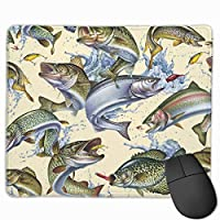 Cheng xiao Mouse Pad 3D Lifelike Cream Fish Rectangle Rubber Mousepad Non-toxic Print Gaming Mouse Pad with Black Lock Edge,9.8 * 11.8 in,ベーシック マウスパッド ゲーム用 標準サイズ