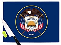 """KESS InHouse Bruce Stanfield""""Utah State Flag Authentic"""" Blue Red Cutting Board, 11.5"""" x 15.75"""", Multicolor [並行輸入品]"""