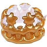 SODIAL 1 x インフレータブル ゴールドクラウンキングクイーンコスチューム パーティー ハロウィーン 誕生日の装飾