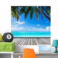 Wallmonkeys Ocean Palm Paradise Caribbean Peel and Stick Graphic (36 in W x 36 in H) WM360880 [並行輸入品]
