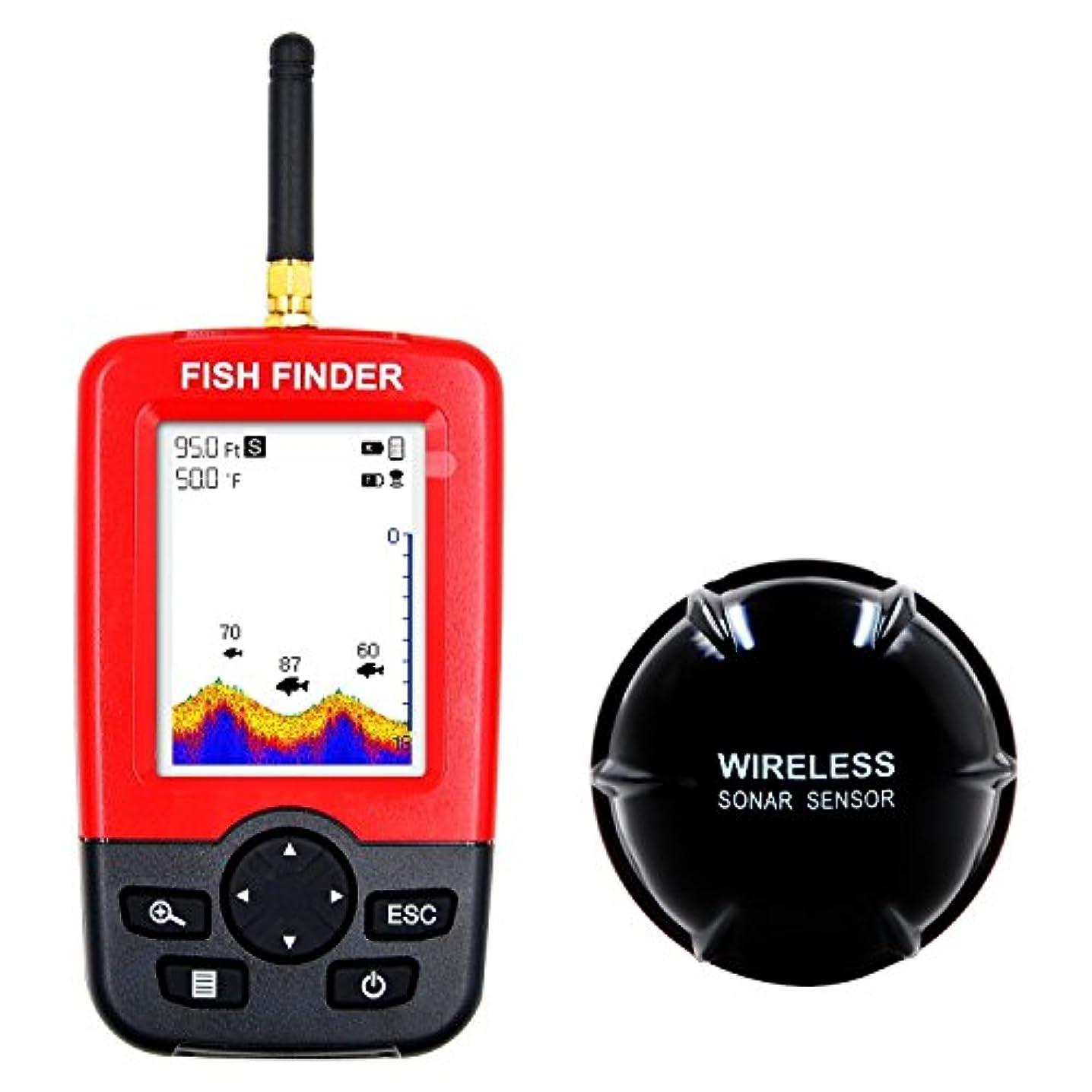 犯罪スカウトり魚群探知機 ポータブル 魚探 100メートルの検出範囲ワイヤレス魚群探知機 充電式 魚探 より速くより正確な釣り