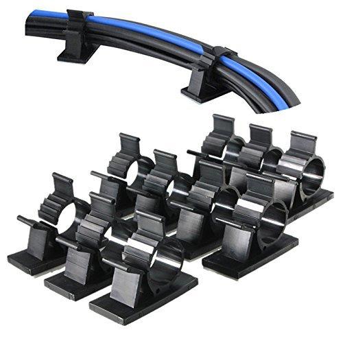 IDANA ケーブルドロップ ブラック 30枚セット 4階段調整可能 最大直径10mm コードフック コード収納 ケーブルクリップ ケーブル収納 固定クリップ 接着ワイヤーコード 結束固定ベース 粘着シート付 ケーブル固定具