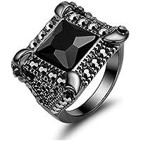 Niome 1PC New Fashion Vintage Black Square Zircon Ring