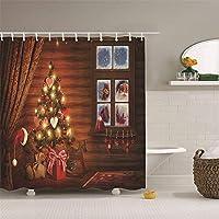 クリスマスツリーの浴室のカーテンポリエステルシャワーカーテン3Dデジタル印刷防水性の証拠クイック乾燥浴室のパーティションのカーテンホームバスタブ12pcsのフック付きカーテンを吊るす (Size : 165x180cm)