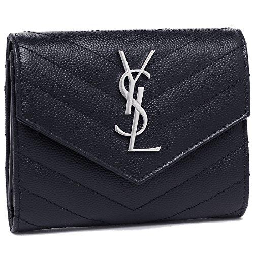 [サンローラン] 二つ折り財布 レディース SAINT LAURENT PARIS 403943 BOW02 4147 ネイビー [並行輸入品]