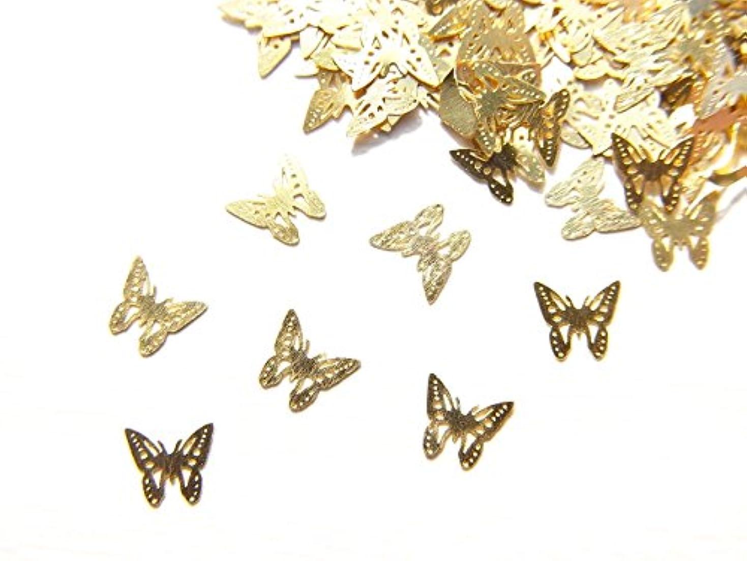 結晶記憶周り【jewel】ug24 薄型ゴールド メタルパーツ Sサイズ バタフライ 蝶 A 10個入り ネイルアートパーツ レジンパーツ