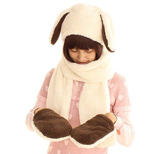【Ani Mam Kids】うさ耳 ふわかわ フード付きマフラー たれ耳ウサギ (ホワイト)