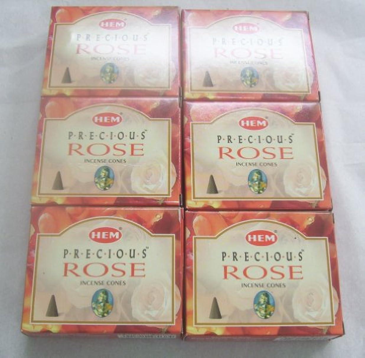 寺院レジ邪悪なHem Precious Rose Incense Cones、6パックの10 Cones = 60 Cones