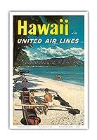 ハワイ - ユナイテッドエアラインズ - ダイヤモンドヘッドクレーターの前でハワイアウトリガーカヌーでのカップル - ビンテージなハワイの旅行のポスター c.1960s - アートポスター - 23cm x 31cm