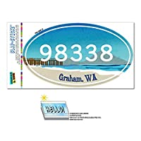 98338 グラハム, WA - ビーチ Pier - 楕円形郵便番号ステッカー