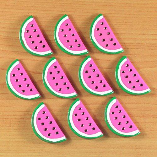 ロット10pcsホットピンクスイカ夏フルーツ樹脂カボションFlatbacksフラットバックヘアリボンセンター工芸デコ装飾
