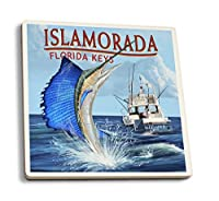 Islamorada、フロリダ州キー–Sailfishシーン 4 Coaster Set LANT-42061-CT