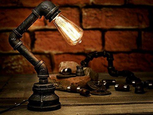 FSLiving 装飾ランプ シンプルなヴィンテージ工業スタイルの素朴なテーブルランプは、アンティークのデスクライト水パイプアーム照明フィクスチャは、ブラックコード、アイアンは、E27/ E26ホルダーキットスタンドセット(LEDガラスの電球の光が含まれていません)