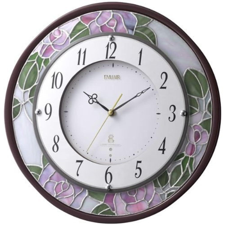 (リズム時計) CITIZEN 電波 掛 時計 エミュエールM8F 茶光沢仕上げ 8MY481EN06