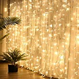 Fairy Curtain Lights, Amazer-T 300 LED Window Curtain String Light Wedding Party Home Garden Bedroom Outdoor Indoor Wall Decorations (Warm White)