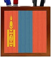 Rikki Knight Mongolia Flag on Distressed Wood Design 5-Inch Wooden Tile Pen Holder (RK-PH8752) [並行輸入品]