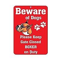 アルミ製看板 Stanley BOXER DOG Beware of Fun ノベルティ メタルサイン