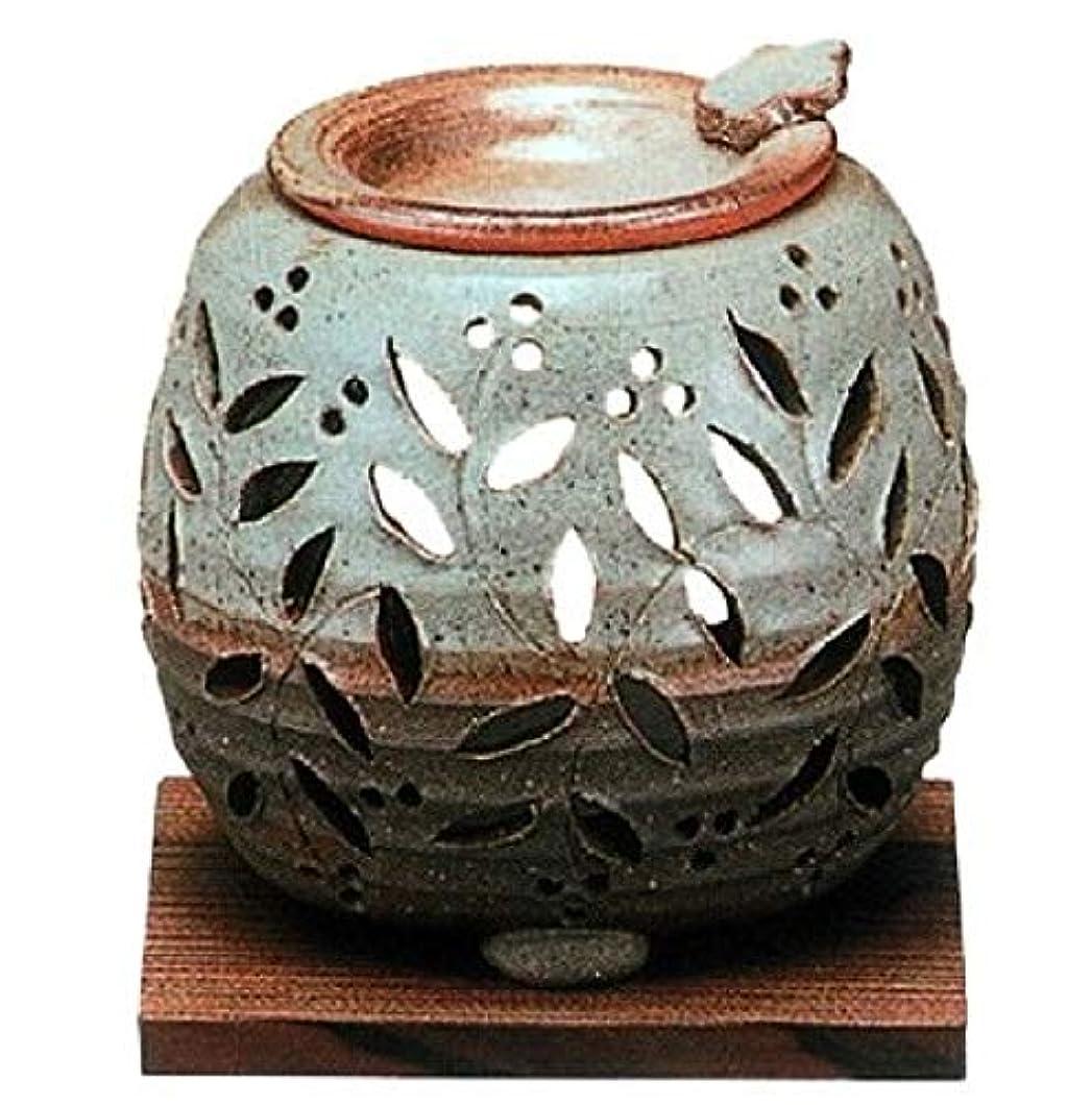 山岳土切り下げ【常滑焼】石龍 緑灰釉花透かし彫り茶香炉 灰釉花透かし  φ11×H11㎝ 3-829