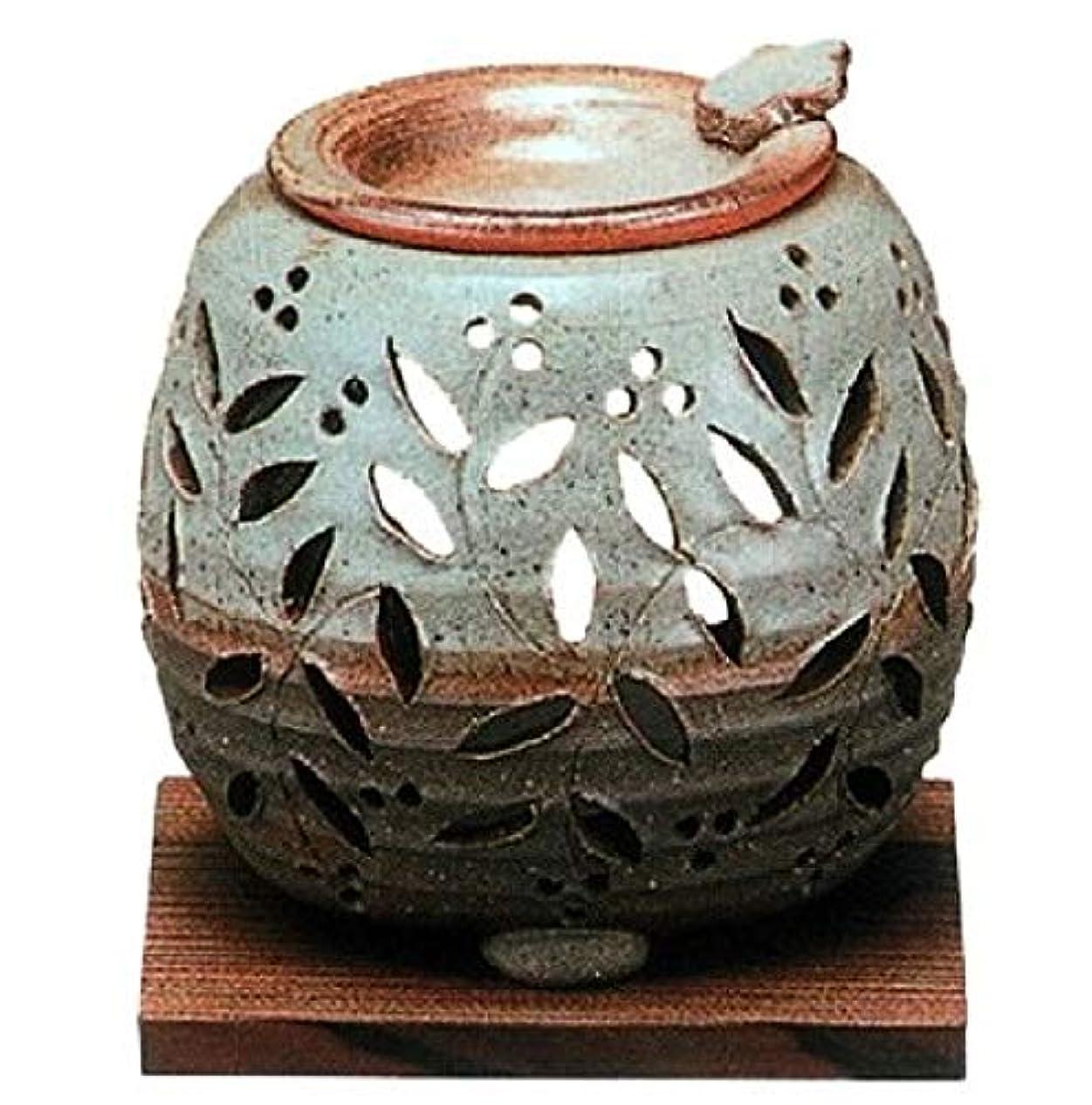お香プラグ他に【常滑焼】石龍 緑灰釉花透かし彫り茶香炉 灰釉花透かし  φ11×H11㎝ 3-829