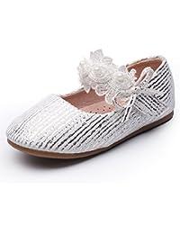 Chiximaxu フラット ガールズシューズ ベロクロ 女の子 フォーマル靴 プリンセス