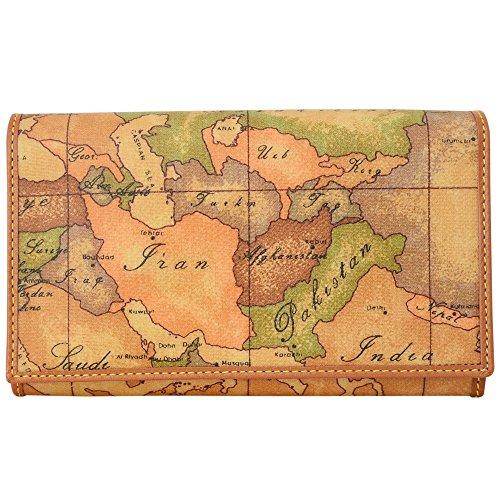 (プリマ・クラッセ)PRIMA CLASSE プリマクラッセ 財布 三つ折り財布 ファスナー付小銭入れあり W021 9000 NATURAL Geo Classic 世界地図柄 マップ柄 ベージュ系 メンズ レディース サイフ ウォレット [並行輸入品]