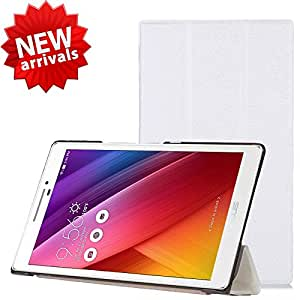 【ShineZone】Asus ZenPad 7.0 Z370CG 専用保護ケース 超薄型 高級PUレザー・三つ折・スタンド機能付き (ホワイト)