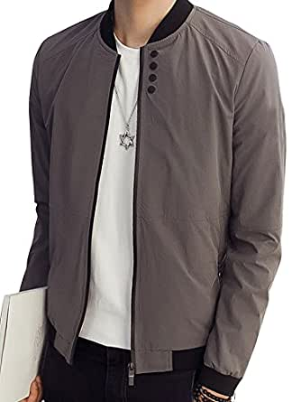 (ゆうや)YoYeah メンズ 高級ブロック ジャケット カジュアル ストリート スタジャン 風 ブルゾン ジ長袖厚手快適でコーディネートができます gray M