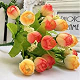 造花 バラの花束 15本 サンセットグロー