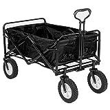 キャリーカート フォールディングキャリーワゴン アウトドアワゴン (ブラック) 大型ノーパンクラバータイヤ 容量 約90L 積載重量 約100kg 収納ケース付き