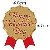 「Happy Valentine's Day」バレンタインシール(ゴールド/レッド)(リボン型・赤)(300枚入)【k-014】