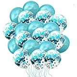 Saitec 50 Pieces Metallic Teal Balloons Confetti Turquoise Balloons Latex Confetti Balloons with 64 ft Ribbons for Engagement